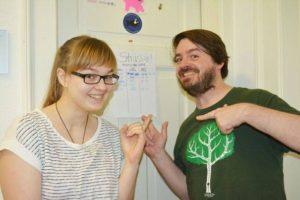 Die Entwickler des Computerspiels Strasser! Anastasia Surikov und Stefan Trube